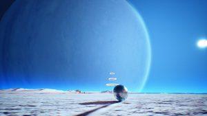 Screenshot aus dem Spiel Venineth; Zeigt Metallkugel auf Mondoberfläche mit schwebenden Ringen im Hintergrund und einem Planeten am Himmel