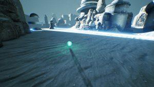 Screenshot aus dem Spiel Venineth; Zeigt leuchtende Kuugel die über grauen Sandboden rast