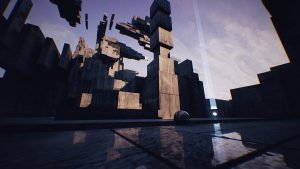Screenshot aus dem Spiel Venineth; Zeigt Metallkugel in einer blockigen Umgebung