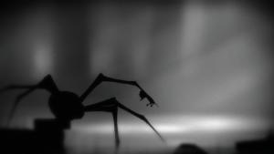 Screenshot aus dem Spiel; Spieler wurde von riesiger Spinne eingeholt
